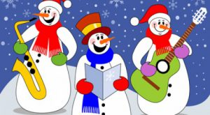 Snowmen with musical intrruments & music