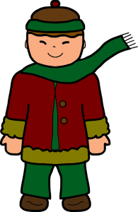 illustration of a boy in winter clothing