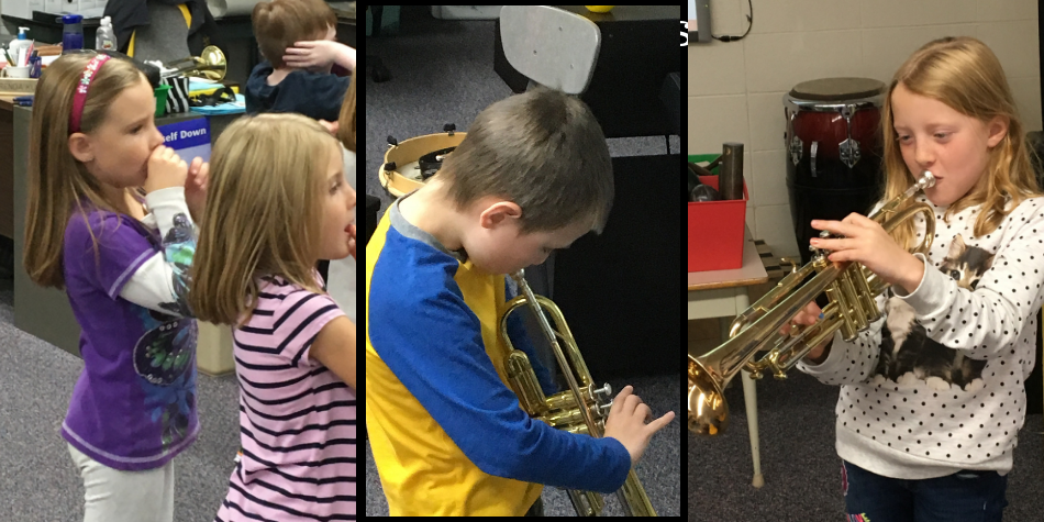 Trying out the Instruments in Music Class