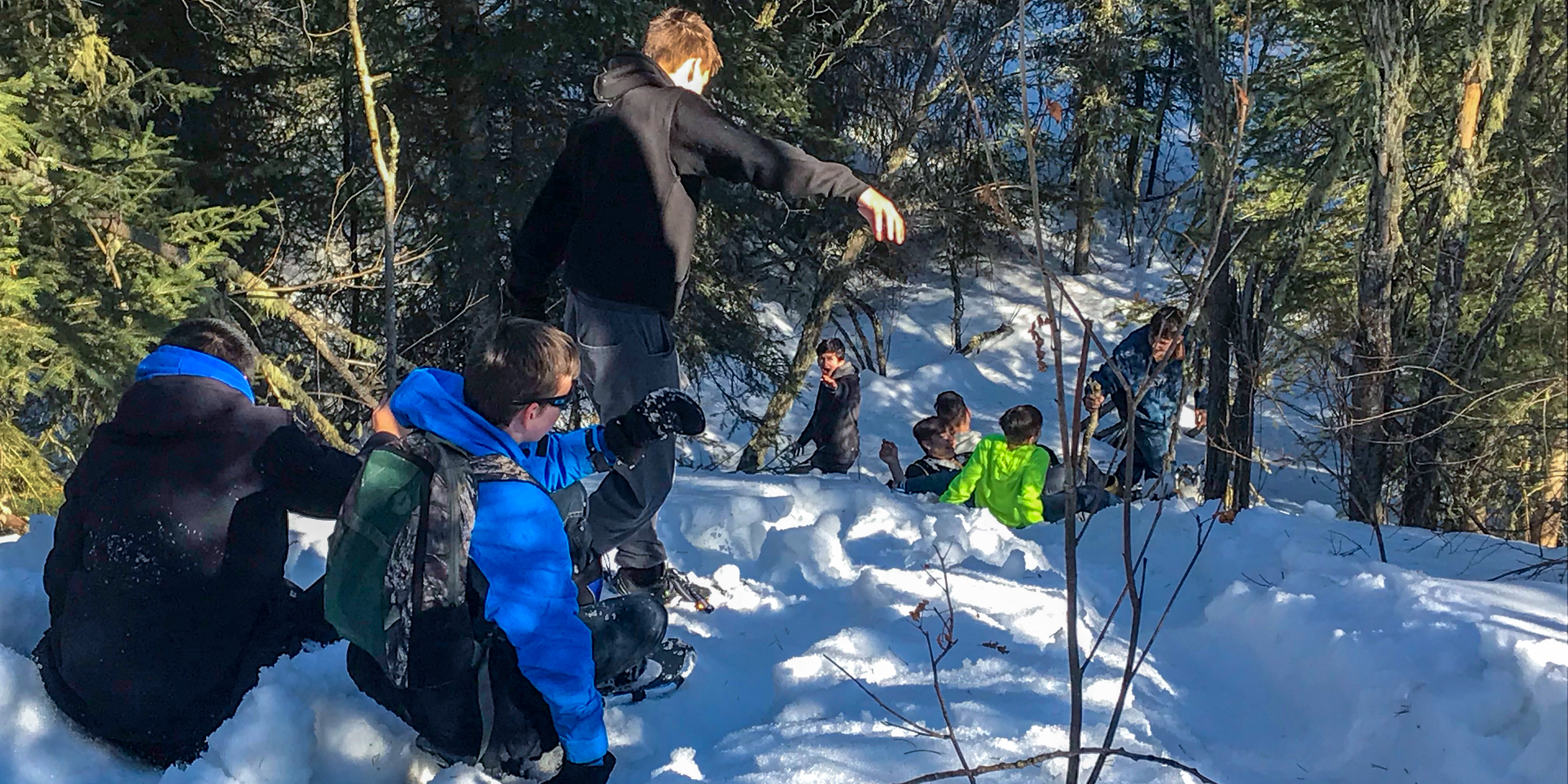 Grade 9s Discover that Snowshoeing is Not Like Skiing!