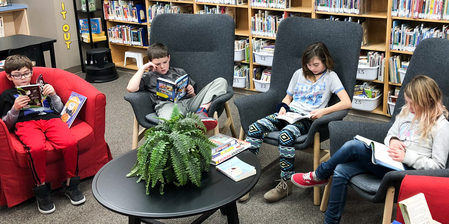 Grade 5 Students in the Library