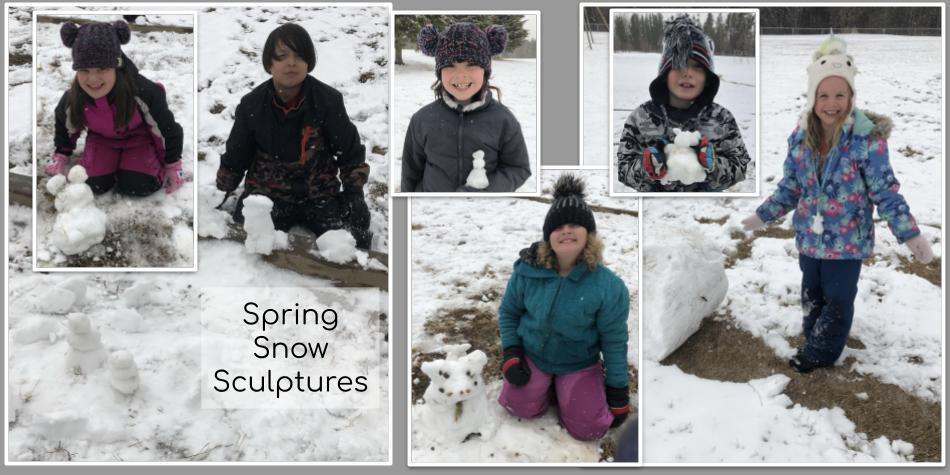 Division 1 Students Discover that Spring Snow is Awesome for Sculpting